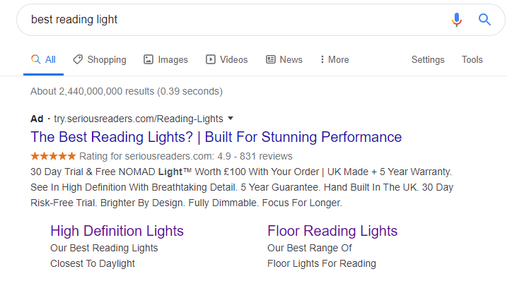 Example of Google Ads at the top of Google's search engine results page.